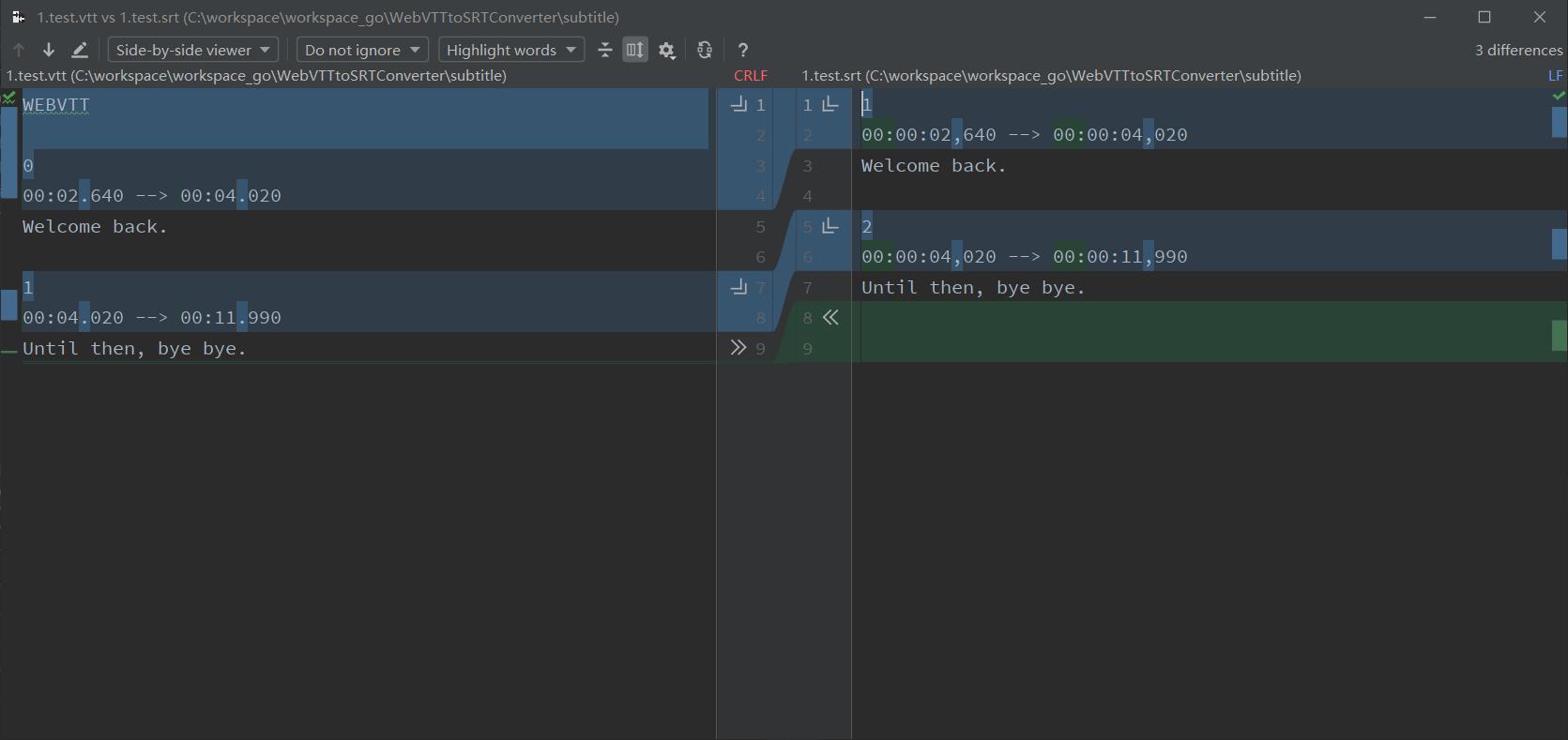 Golang实现webVTT字幕转SRT字幕